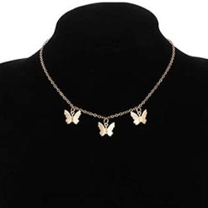 New gold butterfly choker necklace
